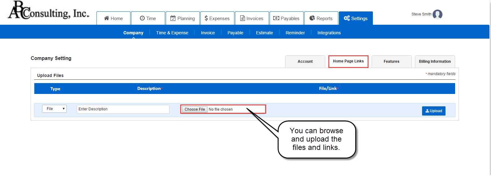 Home page setting in AccountSight