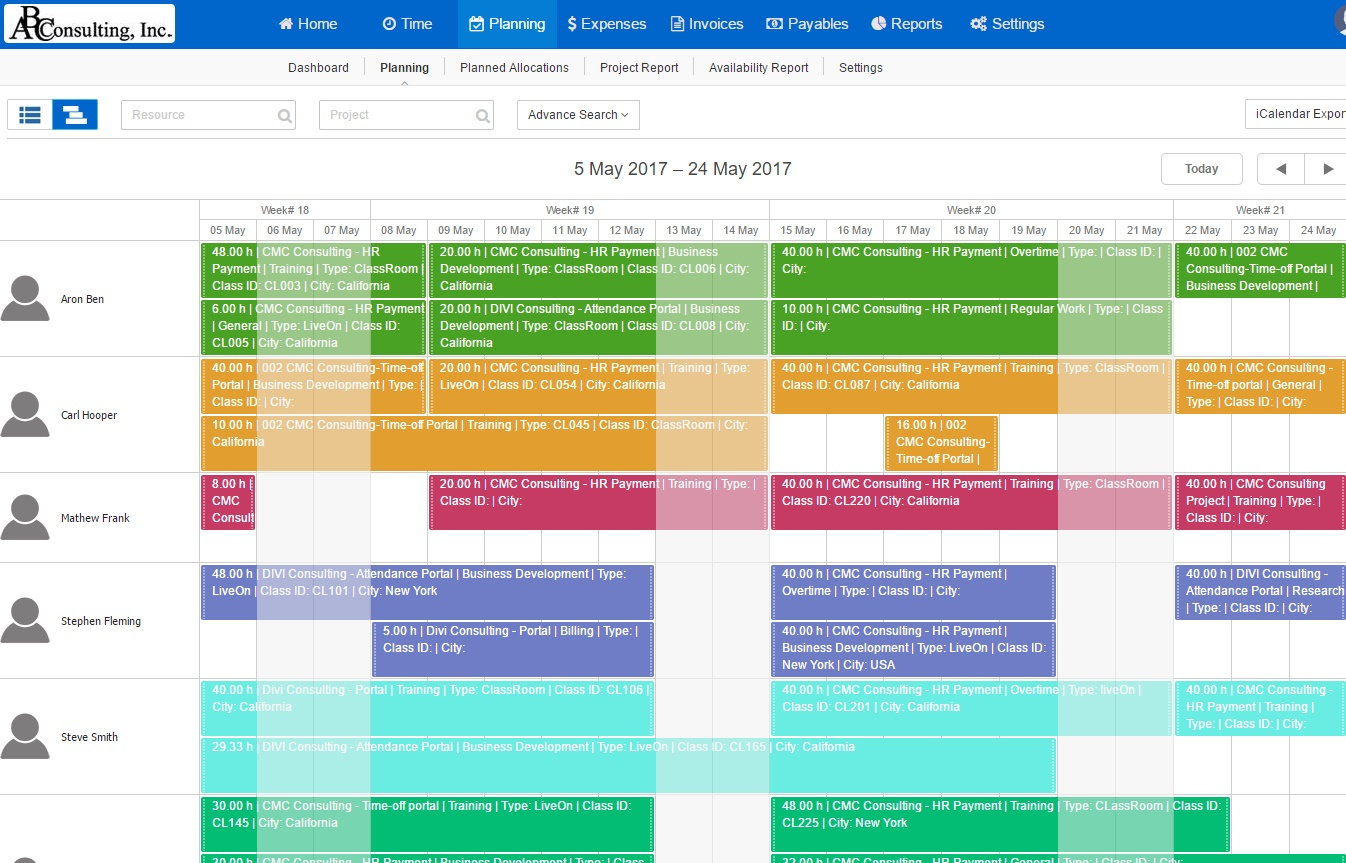 Resource Planning Calendar View