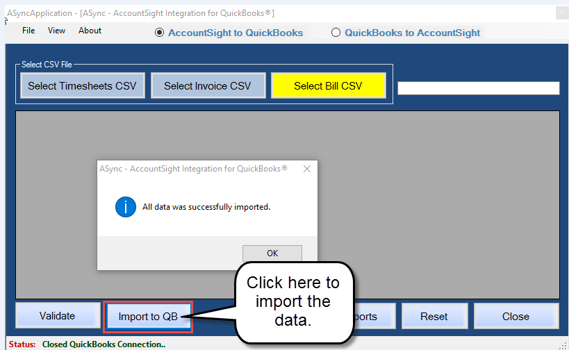 Export Expense data from AccountSight to QuickBooks Bills