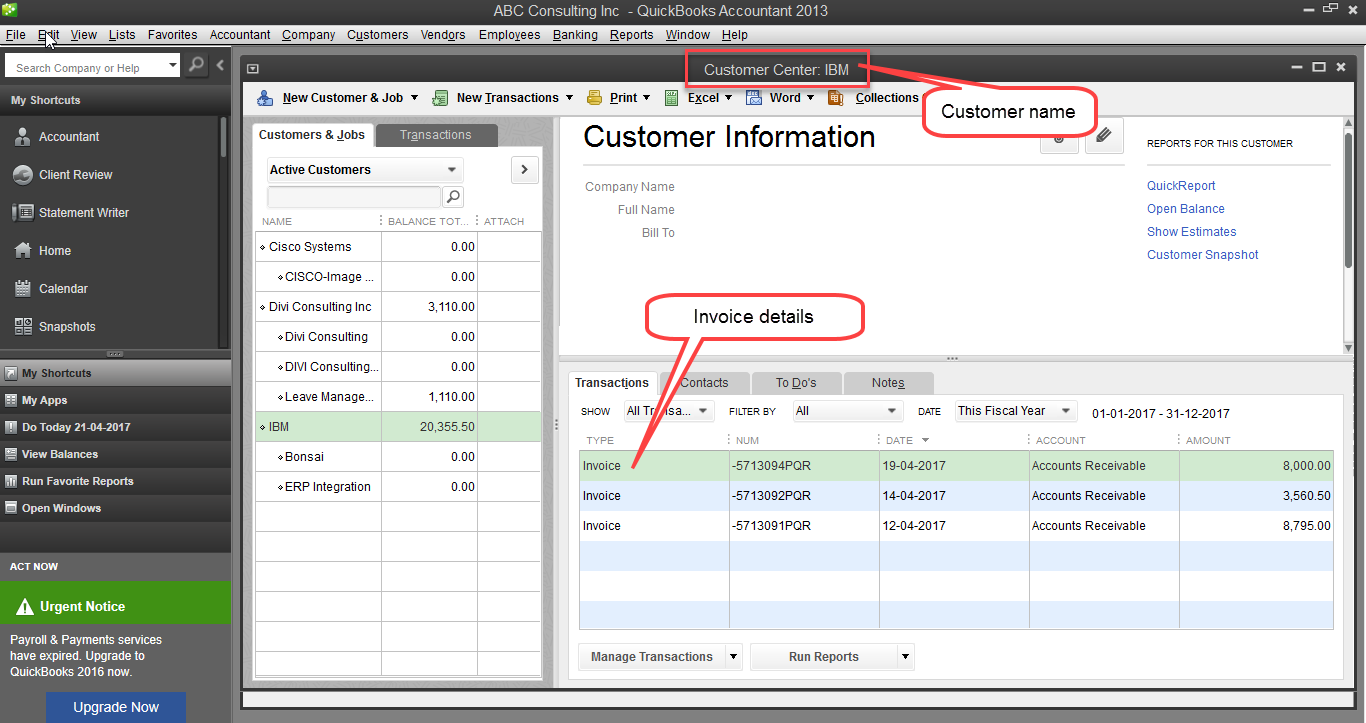 export invoice data from accountsight to quickbooks invoices