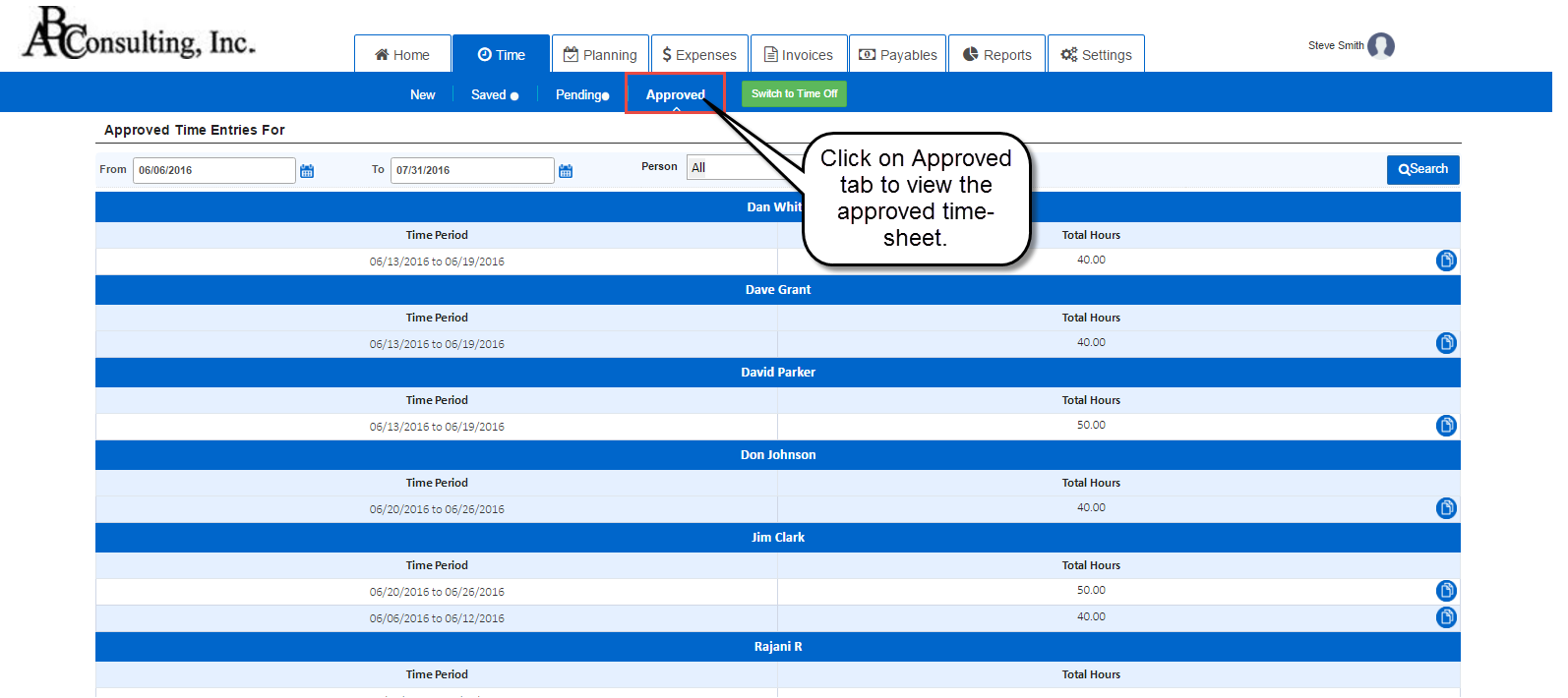 Approved timesheet view in AccountSight