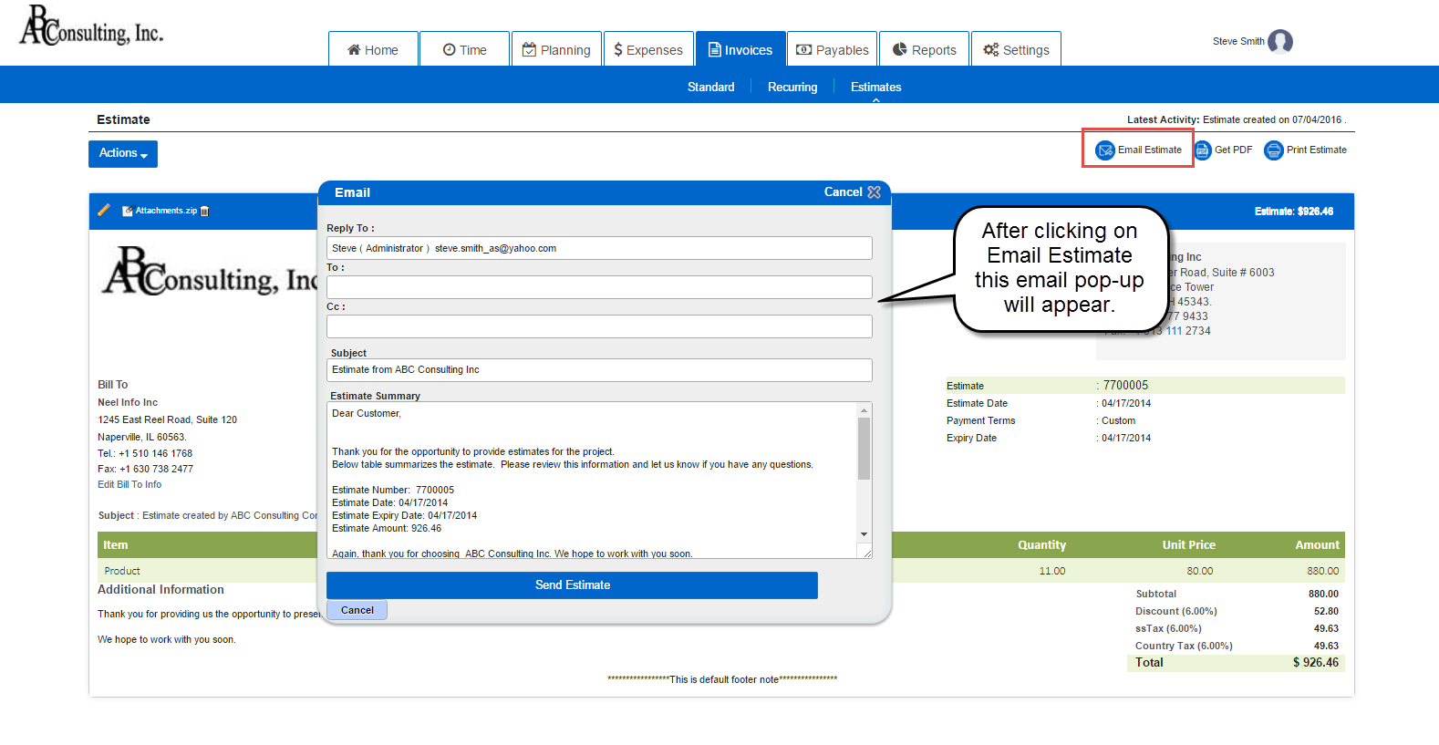 Deliver Project Estimate Email