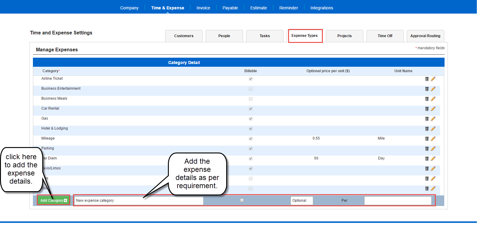 Expense types setup in AccountSight