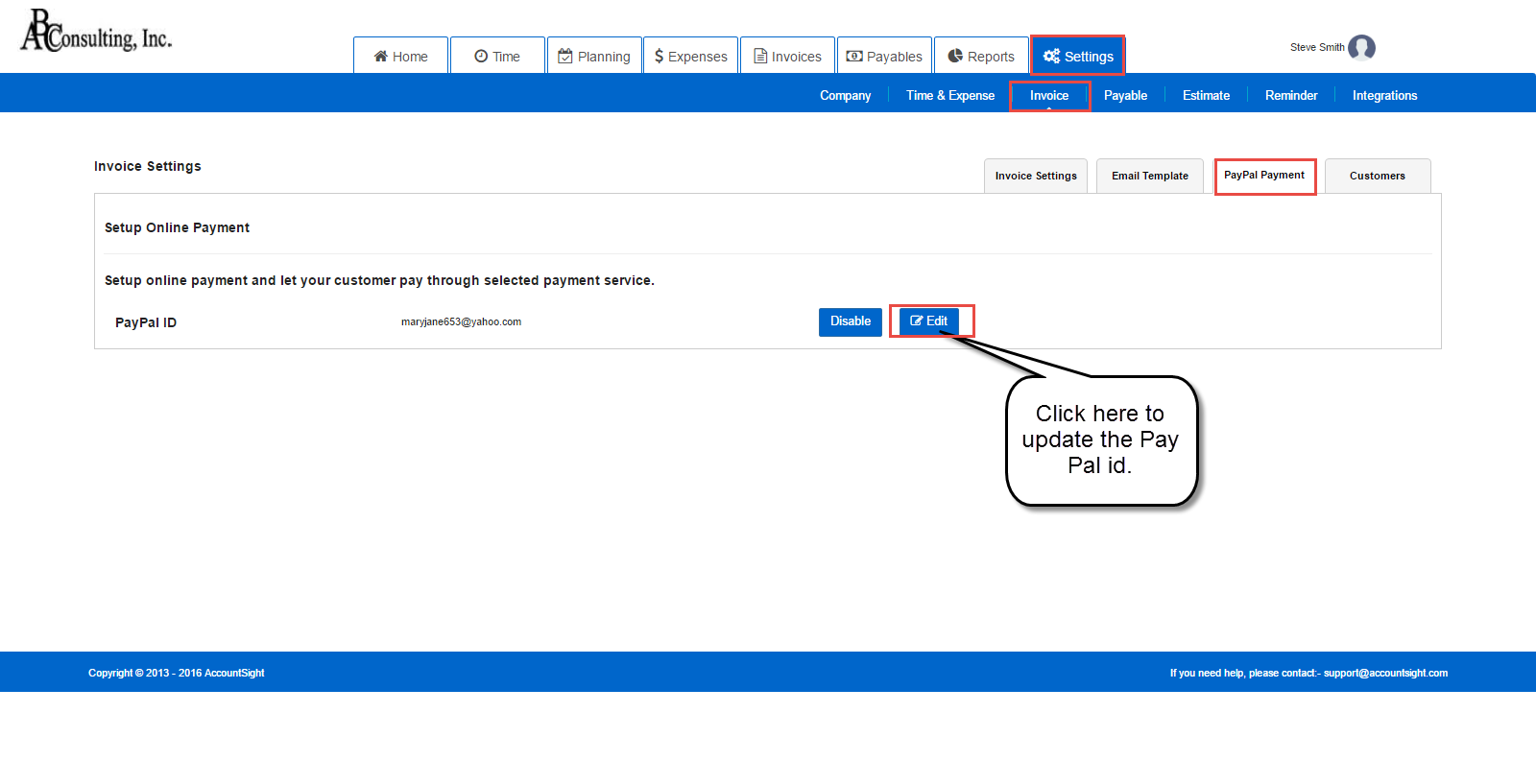 Configure PayPal ID in AccountSight time and billing software