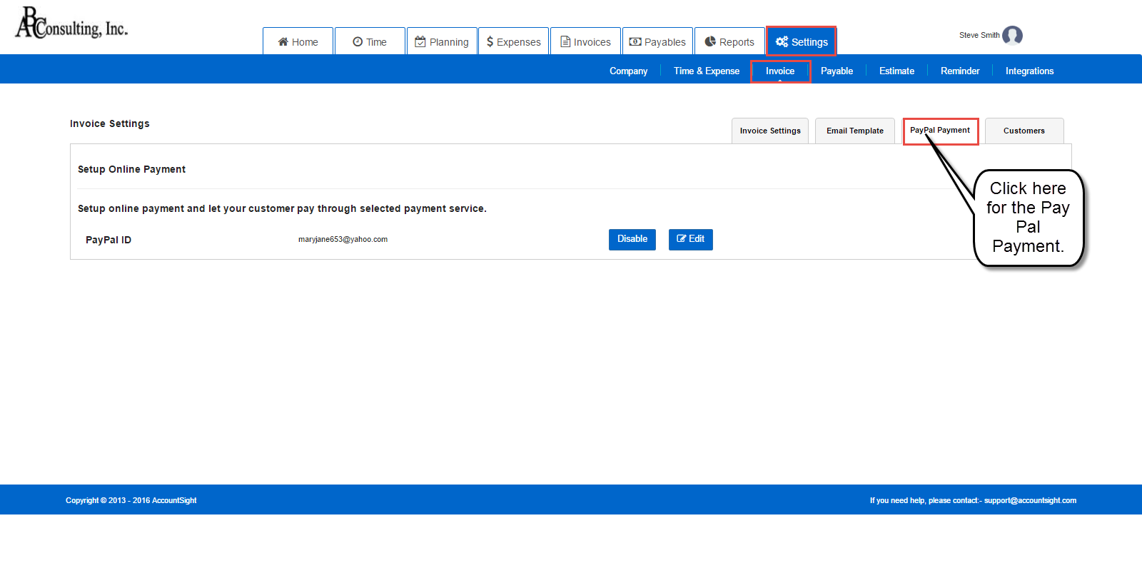 PayPal integration feature in AccountSight time and billing software