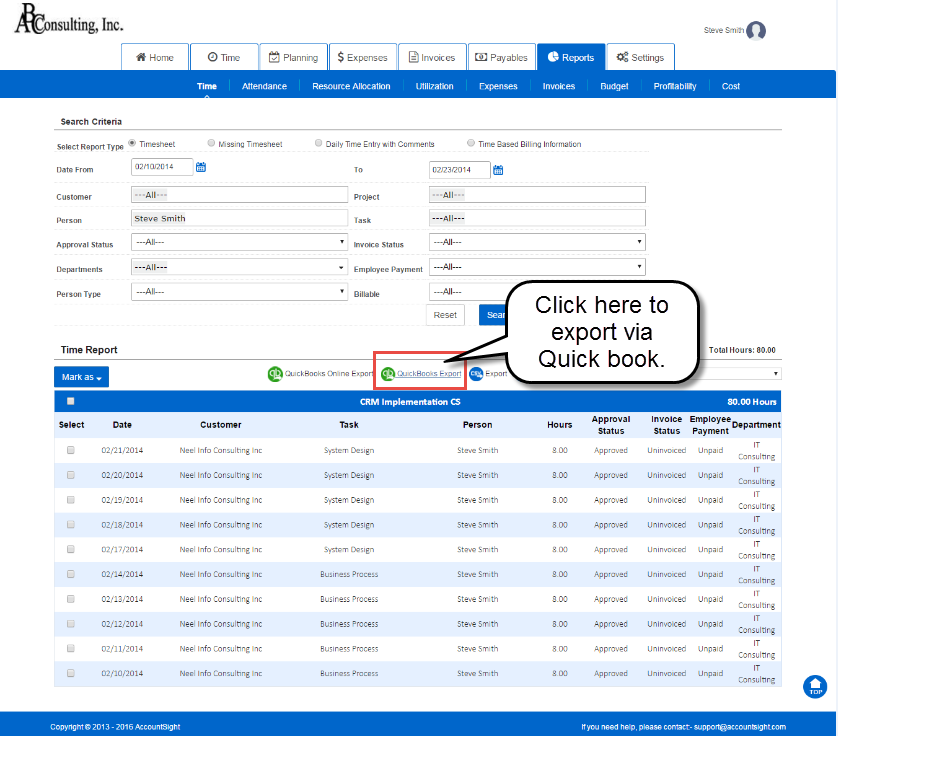 Import data to QuickBooks