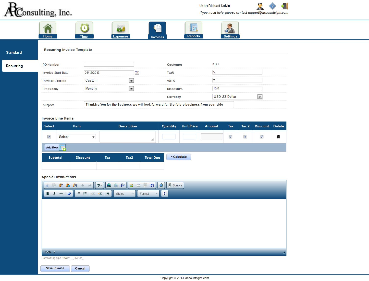AccountSight Invoice Tracking Software Recurring Invoices