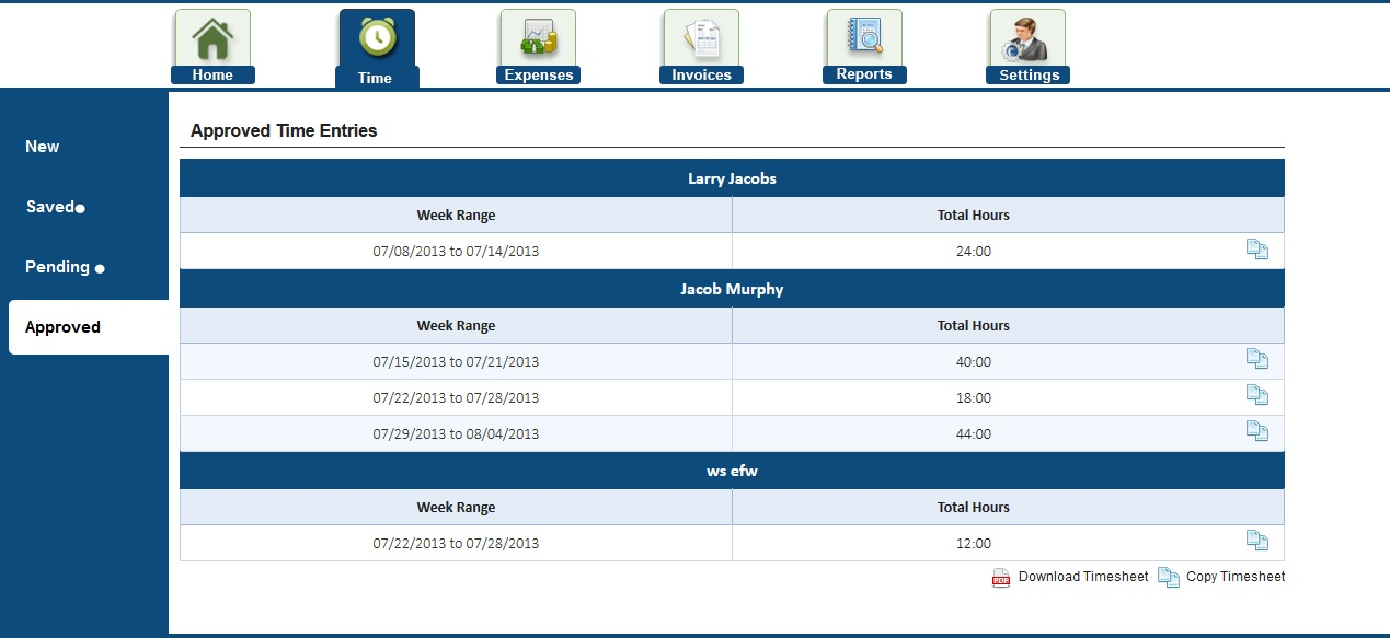 Employee timesheet in AccountSight time and billing software